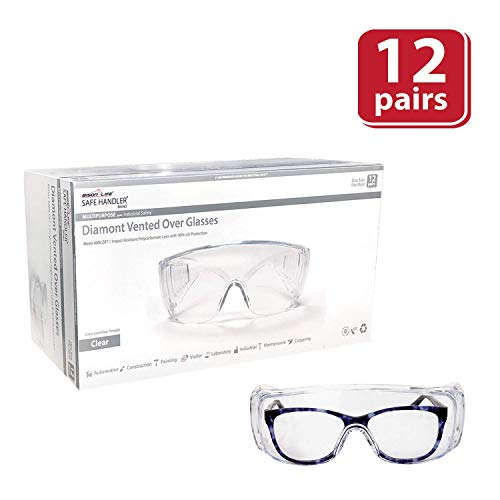 SAFE HANDLER Diamont Vented Over Glasses 12 PAIRS | Meets ANSI Z87.1, Impact Resistant Polycarbonate Lens, 99% UV Protection (1 box/12 Pairs) (Glasses Safety Prescription)