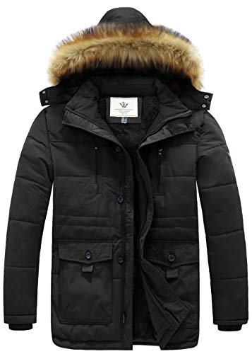WenVen Men's Hooded Warm Coat Winter Parka Jacket (Black, X-Large)