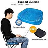 Toriox Gel Seat Cushion Comfort Blue Design Gel Pad Provides Excellent Support for Lower Back, Spine, Hips Promotes Venting & Good Sitting Posture for Office Chair Car Sitter Wheelchair