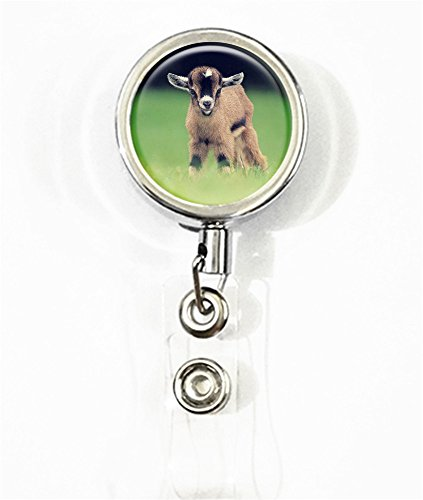 RhyNSky Animal Goat Business ID Card Name Tag Custom Retractable Badge Holder Reel with Belt Clip, Silvery, FS315 ()