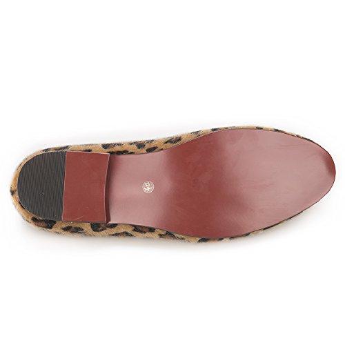 Hi & Hann Handgemaakte Luipaard Prints Loafers Heren Paardenhaar Schoenen Slip-on Roken Slipper Heren Flats