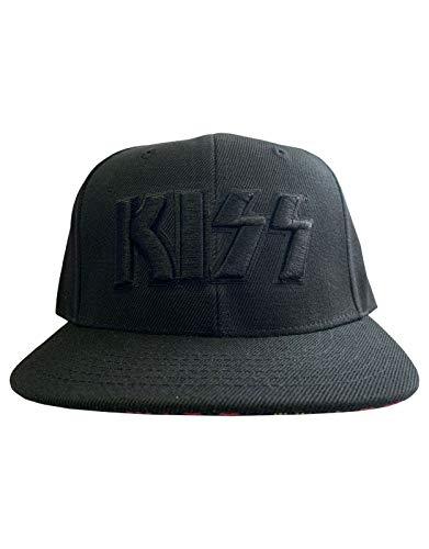 Kiss Baseball Cap Neon Faces Band Logo Brim Print Official Black -