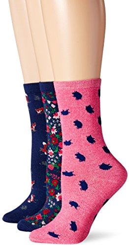 Jane & Bleecker Women's Winter Garden Piggy Fox Play 3PP, Medieval Blue/Fuchsia Purple Heather, 9-11 (Shoe size 4-10)