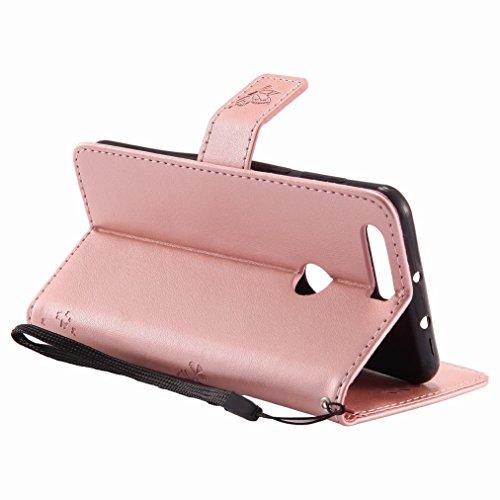 Yiizy Huawei Honor 8 Custodia Cover, Albero e Gatti Goffratura Design Sottile Flip Portafoglio PU Pelle Cuoio Copertura Shell Case Slot Schede Cavalletto Stile Libro Bumper Protettivo Borsa (Oro Rosa)