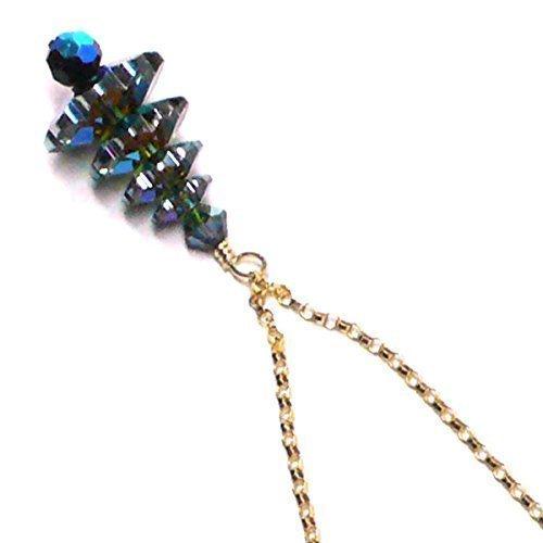 Vitrail Medium Green Austrian Crystal Christmas Tree Chain Necklace Sterling Silver or 14 Kt. - Crystal Austrian Vitrail