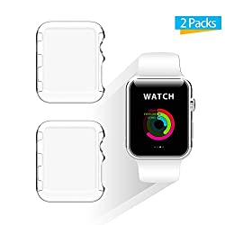 Apple Watch 38mm Case, Ixcc 2-pack New Design Slim Clear Pc Hard Screen Protector Case Cover For Apple Watch Series 2 38mm 2016 - Clear