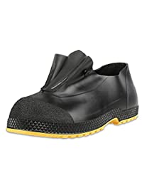 "Servus SuperFit 4"" PVC Dual-Compound Slip-On Men's Overshoes, Black & Yellow (11003-Bagged)"