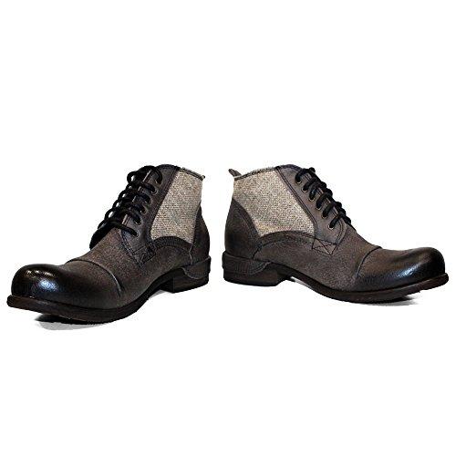 44bebf87724a0c PeppeShoes Modello Graphite - Handgemachtes Italienisch Leder Herren  Schwarz Stiefel Stiefeletten - Rindsleder Weiches Leder -