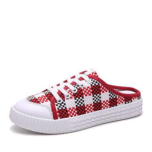 Sneakers Rojo Negro Black ZHZNVX Flat Mujer Zapatos Otoño Claro Comfort Primavera Heel Tela Marrón de ZRAwqvZ4