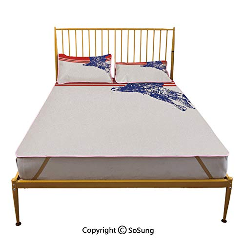 Eagle Creative King Size Summer Cool Mat,Colors of The American Flag Red White Blue Bird Symbol of America Loyalty Sleeping & Play Cool Mat,Navy Blue Red -