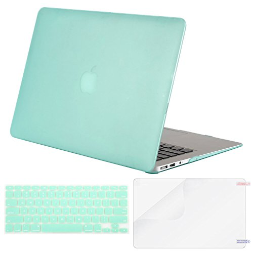 Mosiso Plastic Hard Case with Keyboard Cover with Screen Protector for MacBook Air 13 Inch (Models: A1369 and A1466), Mint Green