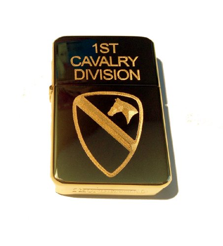 Cavalry Unit - Vector KGM Thunderbird Custom Lighter - United States Armed Forces 1st Cavalry Division Unit Logo Gold Hi Polish Brass Rare!