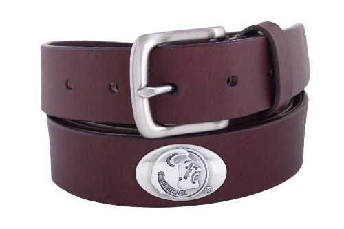 [NCAA Florida State Seminoles Brown Leather Concho Belt, 36] (Brown Leather Concho Belt)