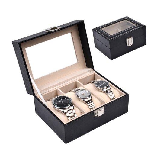 HQdeal Uhrenbox für 3 Uhren PU große Fächer mit Sichtfenster, weich, mit Kissen, Schwarz