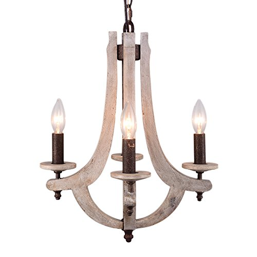 Wooden Metal Pendant Chandelier 15x15x18-inch American Countryside Style Rustic Iron Swag Lighting 5pcs E12 Socket Home Decorations