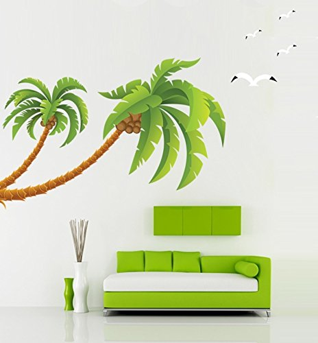 BIBITIME Seagull Coconut Palm Tree sticker HAWAII Tropical Beach Kid Children Wall Decal Stickers by BIBITIME
