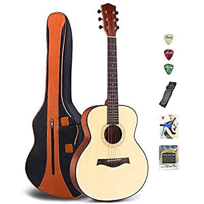 Acoustic Guitar for Guitar Beginner 36 Inch 3/4 Size Classical Travel Guitar Bundle with Gig Bag Capo Strings Strap Picks (36-Re)