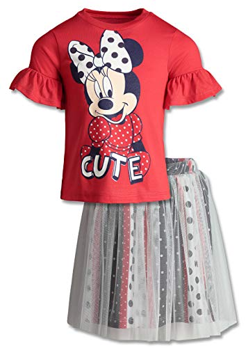 Dinsey Minnie Mouse Toddler Girls' Fashion T-Shirt & Tulle Skirt Set (Red/White/Blue, 2T) ()