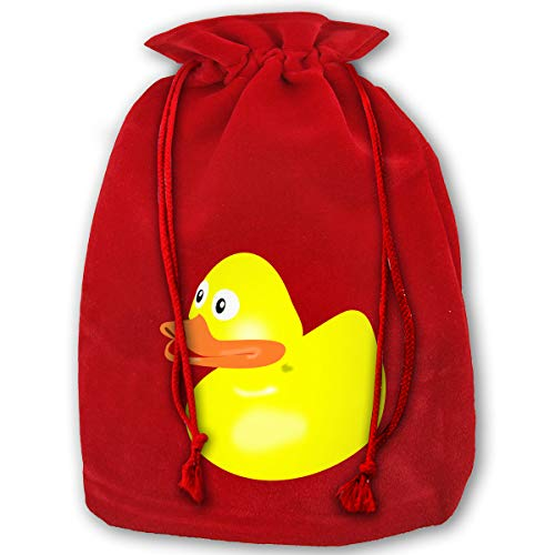 LOUXIO Yellow Rubber Duck Christmas Drawstring Gift Bags Santa Storage Sack Backpack for Party Favors Candy Delicate Printing