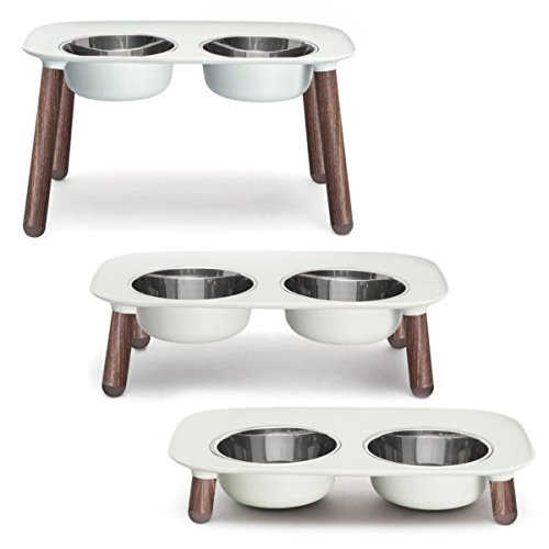 Light Grey with Wood Messy Mutts Elevated Double Dog Feeder with Removable Stainless Steel Bowls and Adjustable Leg Heights, 40 oz   5 Cups per Bowl (Light Grey with Wood)