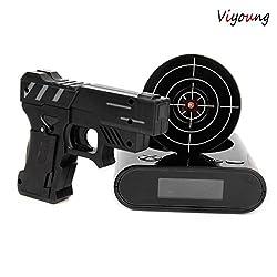 VIYOUNG Lock N' load Gun alarm clock/target alarm clock/Creative Gun Shooting Alarm Clock-Black