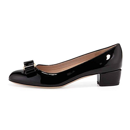 Arc-en-Ciel zapatos de cuero de patente de las mujeres del arco pisos de punta redonda Negro