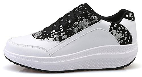 Ausom Kvinners Kult Sliver Form Ups Svinge Sko Toning Slanking Plattform Kiler Gangtrenings Sneaker Hvit