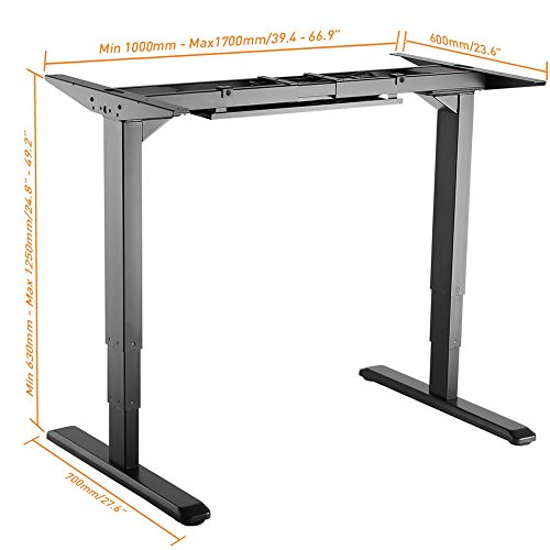 PrimeCables® Electric Sit-Stand Dual-Motor Height Adjustable ADR Desk Frame for 43 to 87 Inches Wide Table Top (Table Top Not Include) (Black)