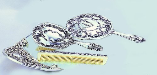 Elegance Silver Antique 3 Piece Silver Dresser Set Mirror Tray Set