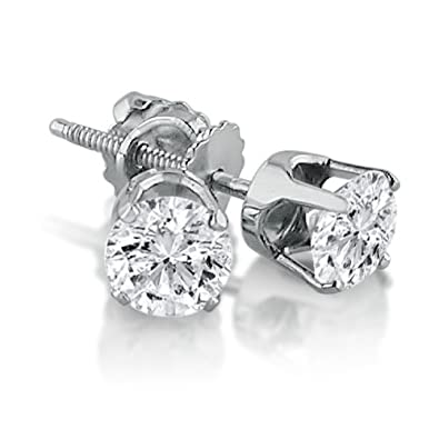 ff70d3289 1/2 Carat Round Solitaire Diamond Earrings in 14K White Gold in Screw Back  Crown