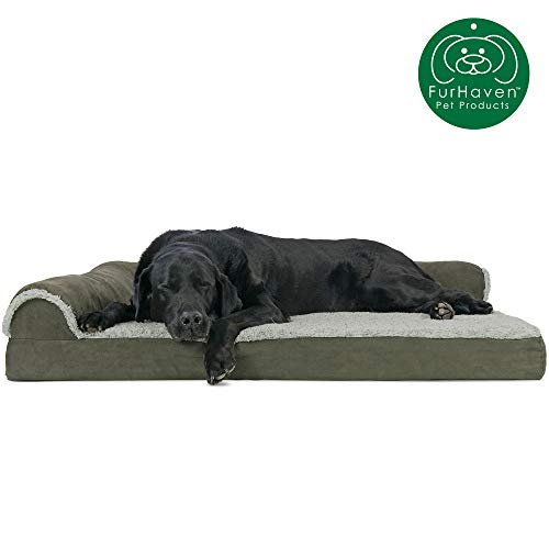 Furhaven Pet Dog Bed | Deluxe Orthopedic Two-Tone Plush Faux Fur & Suede L Shaped Chaise Lounge Living Room Corner Couch Pet Bed w/ Removable Cover for Dogs & Cats, Dark Sage, Jumbo (Chaise Most Comfortable)