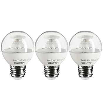 Sunlite G16/LED/5W/E26/D/CL/E/27K/3PK Dimmable Energy Star 2700K Medium Base Warm White LED Globe G16 5W Light Bulb (3 Pack), Clear