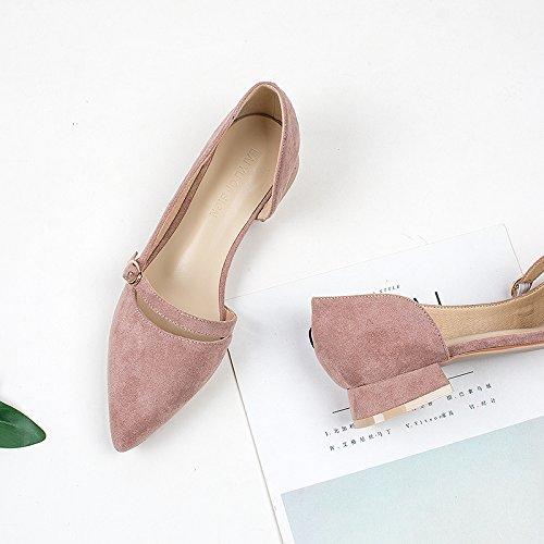 Zapatos Verano Con Con Solo Lado Blanco Zapatos La Color Luz Primavera La Gruesos Rugoso Y Del Con GAOLIM Mujer De Zapatos Baja De Punta De wTavv0
