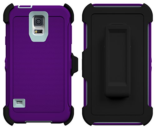 Galaxy S5 Case, ToughBox® [Armor Series] [Shock Proof] [Purple | Aqua] for Samsung Galaxy S5 Case [Built in Screen Protector] [With Holster & Belt Clip] [Fits OtterBox Defender Series Belt Clip]