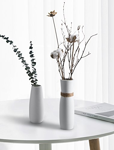 "Opps White Ceramic Vases with differing Unique Rope Design for Home Décor - Set of 2 - UNIQUE DESIGN: Thanks to the simply and elegant design, these 2 ceramic vases can provide your interior space fresh and clean feeling. Then unlike other bright white vases, these items have special frosted handfeel, which can improve the owner's elegance better. *Plants not included.* HANDMADE HIGH QUALITY: OPPS ceramic vases are manufactured though an appropriate synergy between traditional handmade technologies and ergonomics. From the bottleneck to the bottom, these items display beautiful and natural line. Meanwhile, they are made from advanced pottery clay and straw rope so that the vases have a good ability of corrosion resistance. (White Vase: 7.6""H, 3""D; Rope Vase: 9.6""H, 2.8""D ) EXTENSIVE USES: Hollow interior allows you to fill these vases with different fillers such as dried or silk flowers, branches, wheat, pearls, pebbles and etc. PERFECT for office or home décor, dinner parties, holidays, wedding planning and other special occasions. - vases, kitchen-dining-room-decor, kitchen-dining-room - 41uD%2B9ktdiL -"