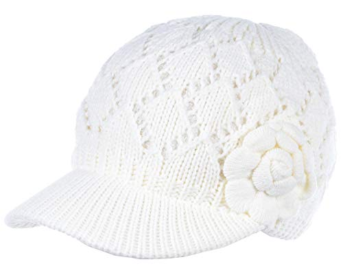 BYOS Womens Winter Chic Cable Knitted Newsboy Cabbie Cap Beret Beanie Hat with Visor, Warm Plush Fleece Lined, Many Styles (Diamond Pattern w/Flower White)