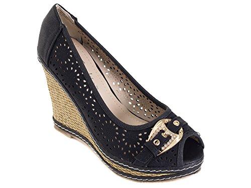Tory Klein Womens & Ladies Classic Espadrillas Zeppa Piattaforma - Open Toe Design Fibbia Scintilla - Nero