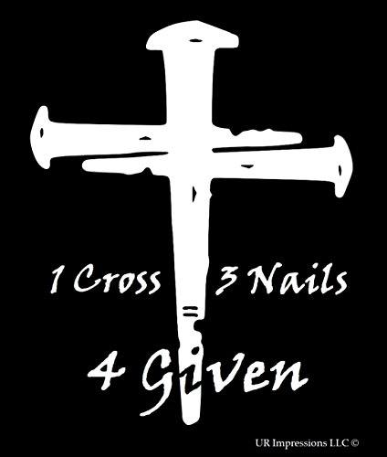 - UR Impressions 1 Cross 3 Nails 4 Given Decal Vinyl Sticker Graphics for Cars Trucks SUV Vans Walls Windows Laptop|White|5.5 X 4.6 Inch|URI193