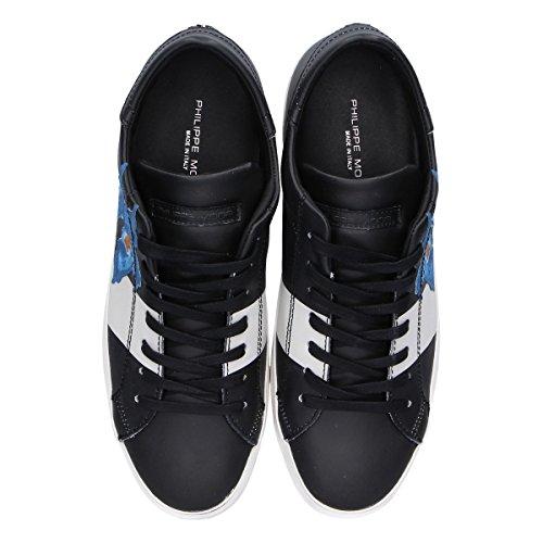 Sneakers In Pelle Nera Modello Philippe Uomo Clluiv03