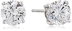 An Amazon brand - Platinum plated sterling silver stud earrings embellished with (2 cttw) round brilliant cut Swarovski Zirconia and features a decorative filigree at the sides