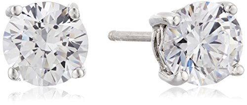 Platinum Plated Sterling Silver Stud Earrings set with Round Cut Swarovski Zirconia (2 cttw) Cubic Zirconia Platinum Earrings