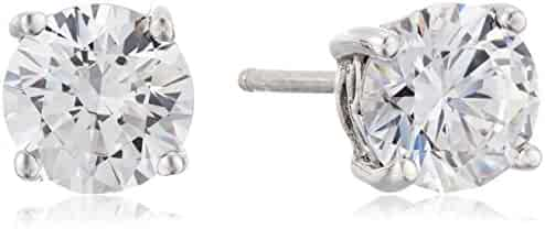 Platinum-Plated Sterling Silver Round-Cut  Swarovski Zirconia Stud Earrings (2 cttw), also Available in Sets