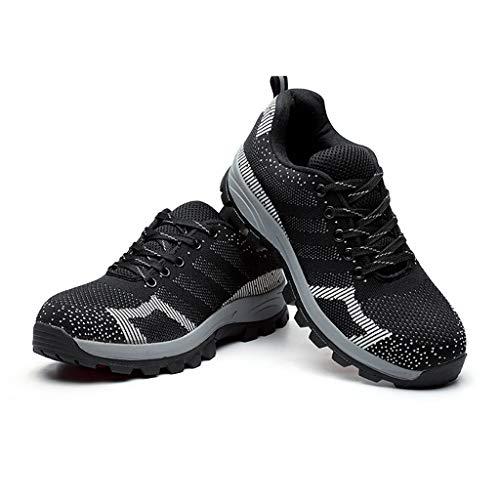 De Seguro Con Acero Transpirable Botas Suave Ant Hombres Ropa Laboral Zapatos Puntas Trabajo ácaros Caminar Para Seguridad Pies B Piel Zapatillas Los Fondo Lona Anti tt0w8q