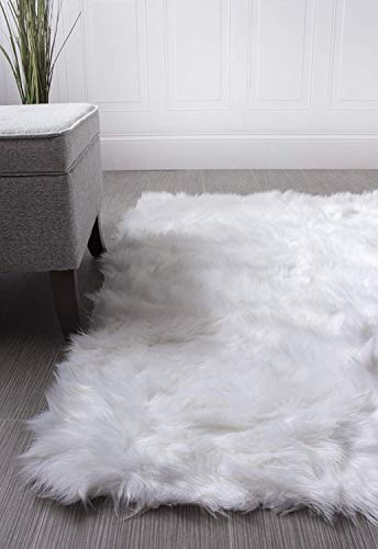 Super Area Rugs Soft Faux Fur Sheepskin Flokati Shag Silky Rug Baby Nursery Childrens Room Rug in White, 5' x 7' (Soft White Super Rug)