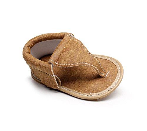 LIVEBOX Infant Baby Girls Moccasins Tassels Flip Flops Premium Soft Rubber Sole Anti-Slip Summer Prewalker Toddler Sandals (L: 12~18 months, Brown) - Leather Rubber Sole Flip Flops