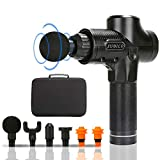 Tension Relief Massage Gun, Deep Tissue Percussion Muscle Handheld Massager for Sore Muscle and Stiffness - Portable Cordless Super Quiet - 30 Speed with 6 Massage Heads