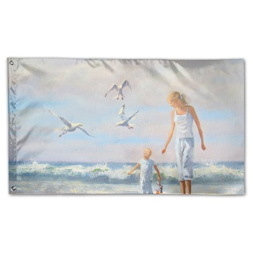 Colby Keats Toddler Looking Seagulls Garden Lawn Flags Indoo