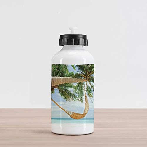 (Ambesonne Beach Aluminum Water Bottle, View of Nice Hammock with Palms by The Ocean Sandy Shore Exotic Artsy Print, Aluminum Insulated Spill-Proof Travel Sports Water Bottle, Green Cream Blue)
