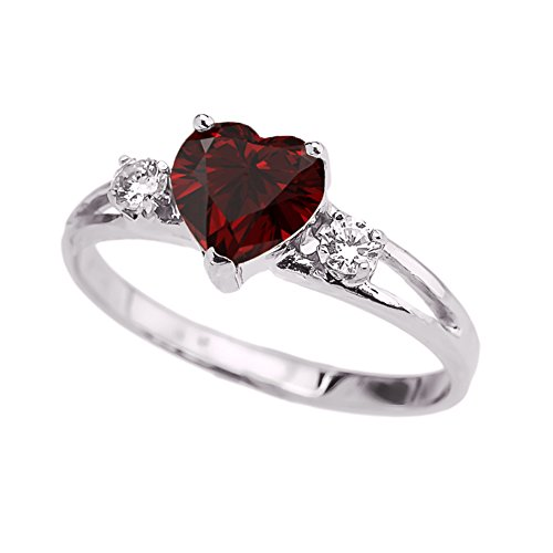 White Gold Garnet Ring (Precious 10k White Gold Garnet Heart Proposal/Promise Ring with White Topaz (Size 8))