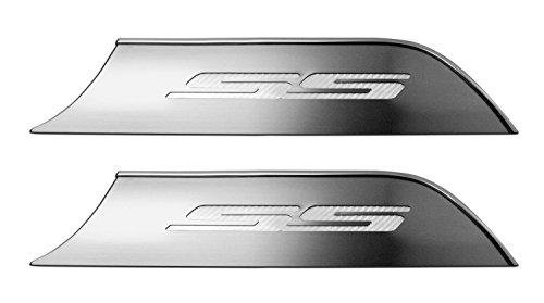 Brushed Stainless Steel Door Panel Kick Plates with White Vinyl Carbon FiberCAMARO Inlay 2Pc 2010-2013 Camaro